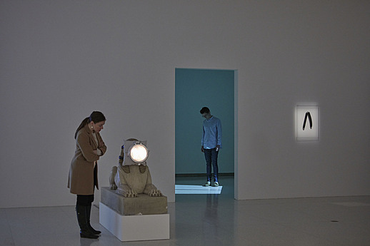 View of the exhibition Less Than One, 2016; (left to right): Trisha Donnelly, Untitled, 2008; Trisha Donnelly, Untitled, 2004-2007